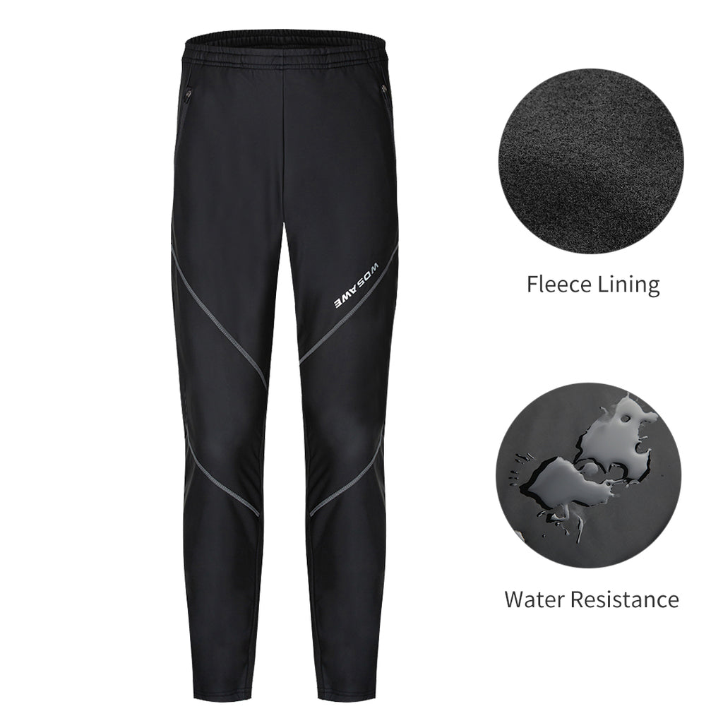 WOSAWE Men's Thermal Cycling Jersey MTB Bike PU Leather Pants
