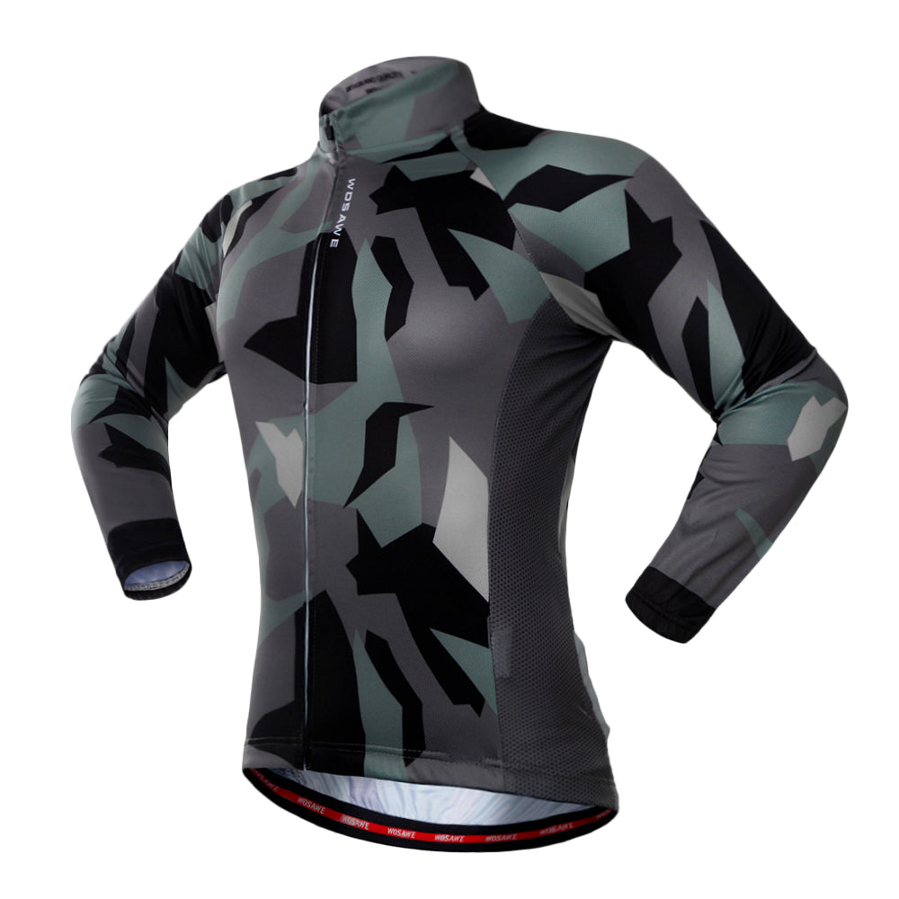 WOSAWE Autumn Cycling Long Sleeve Jersey for Men Quick Dry