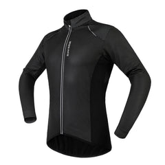 WOSAWE Men's Cycling Windbreaker Winter Thermal Fleece Waterproof PU Jacket