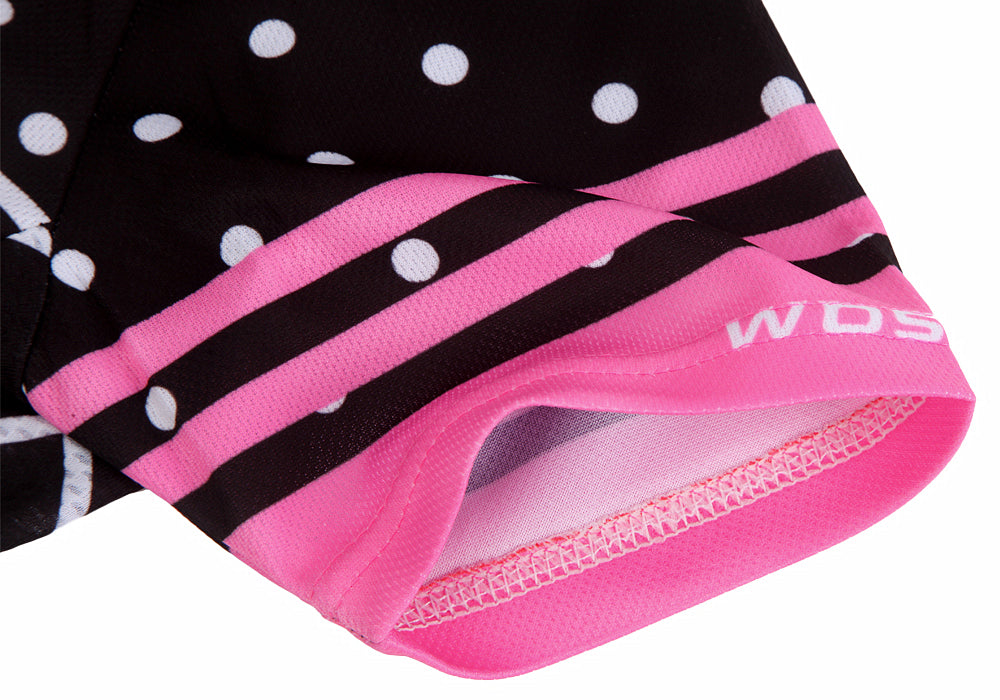 Wosawe Women's Short Sleeves Cycling Jersey Pink Pattern
