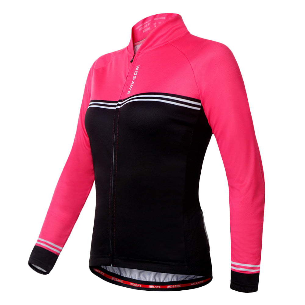 Wosawe Shiny Red Long-Sleeved Cycling Jersey