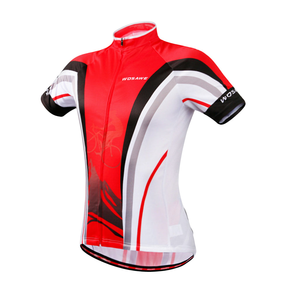 WOSAWE Men's Short Sleeve Polyester Bicycle Jersey Silicon Wasitband