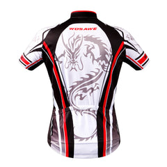 WOSAWE Dragon Print Men's Cycling Jerseys Short Sleeve Biking Shirts Full Zipper 3 Rear Pockets