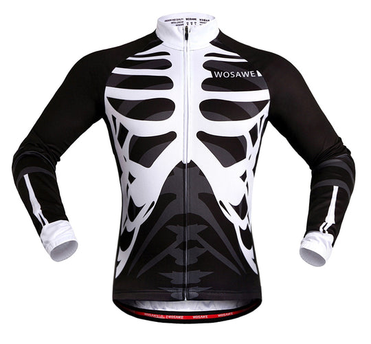 WOSAWE Skeleton Printed Long Sleeve Cycling Jersey