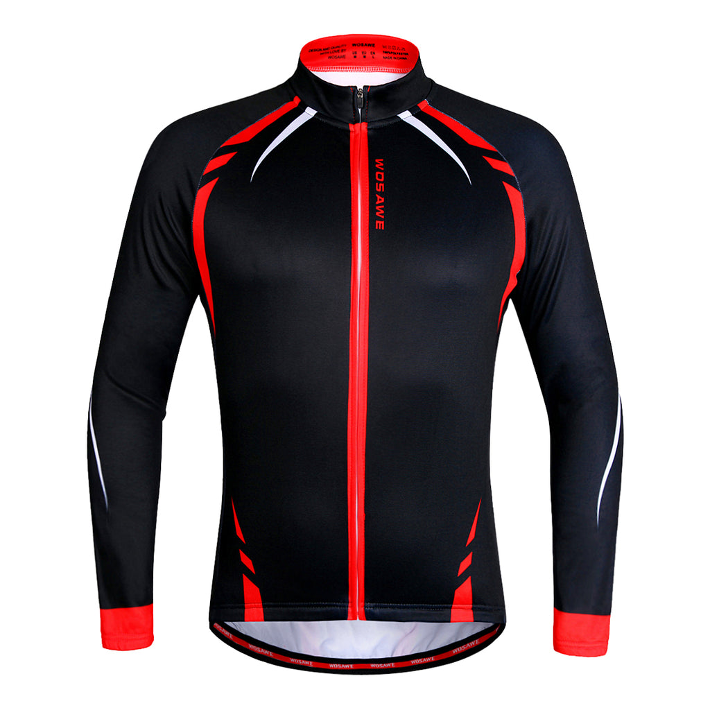 WOSAWE Men's Long Sleeve Cycling Jersey Breathable and Quick Dry Bike Shirt