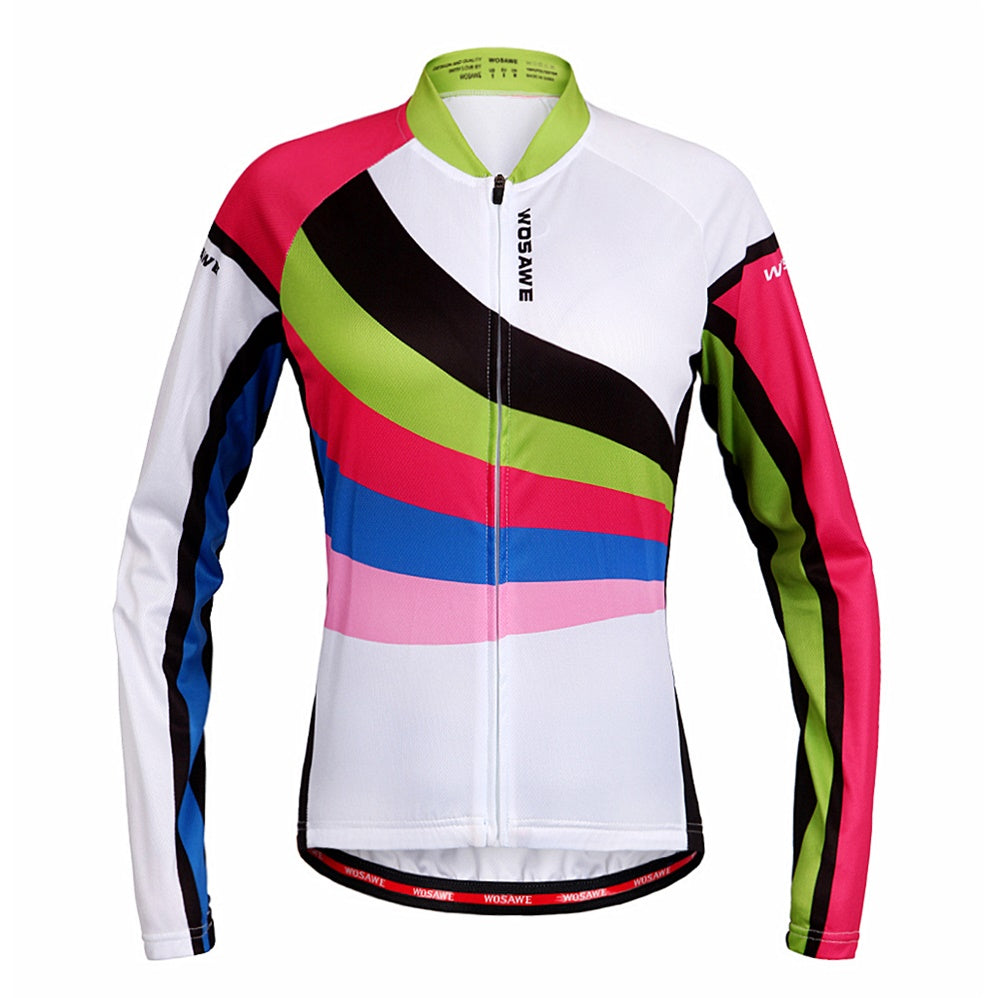 WOSAWE Women Cycling Jersey Autumn Racing Long Sleeve Shirt