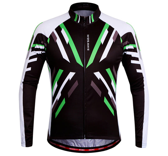 WOSAWE Men's Cycling Jerseys Bicycle Ciclismo Long Sleeve Tops with Green Elements