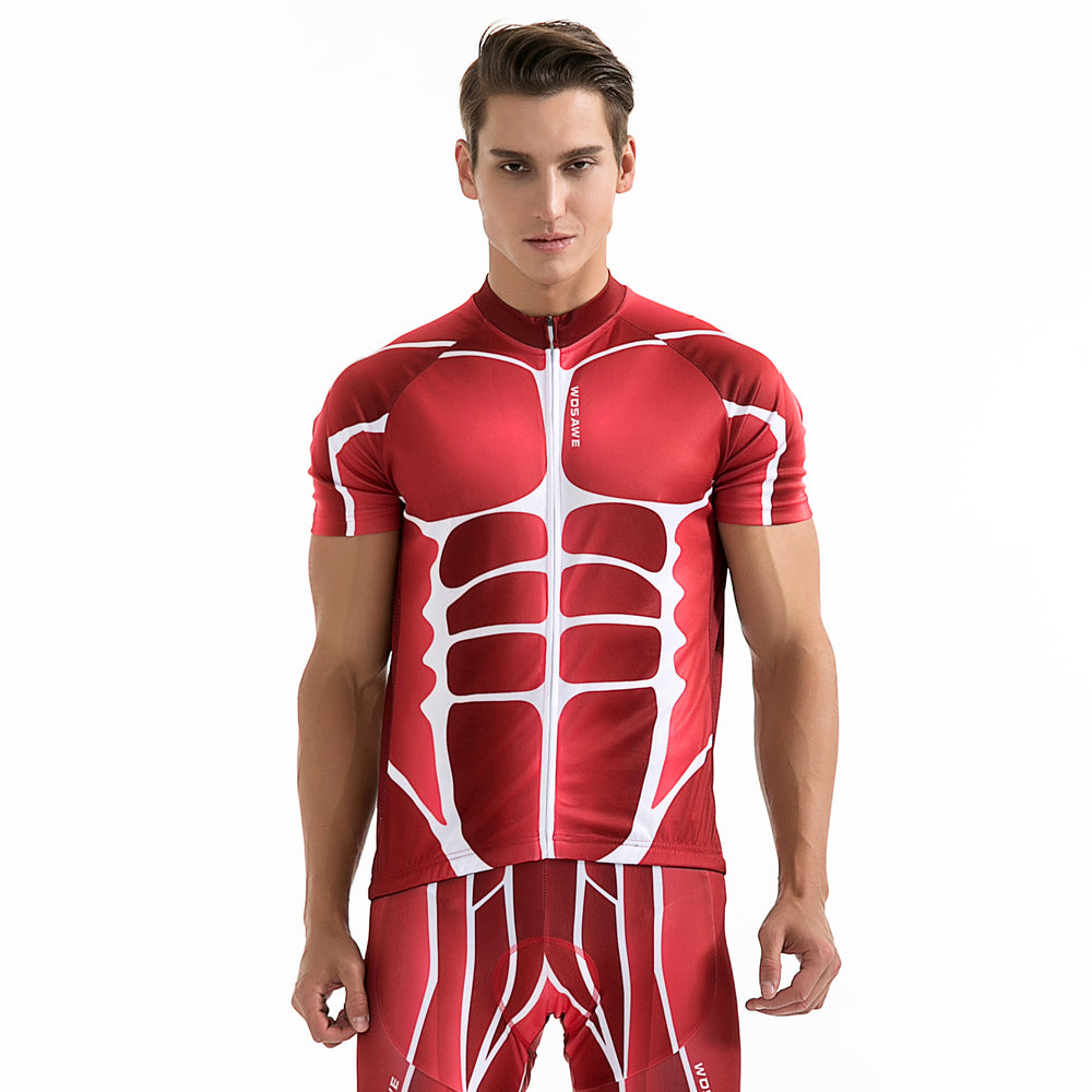 Best Red Skeleton Graphic Printed Cycling Jersey Short Sleeves Bike Shirts