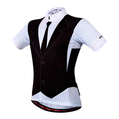 WOSAWE Mens Fake Suit Road Cycling Shirts Breathable Bicycle Sportswear