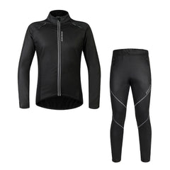 WOSAWE Men's Cycling Jacket Set Bicycle PU Windbreaker with Pants