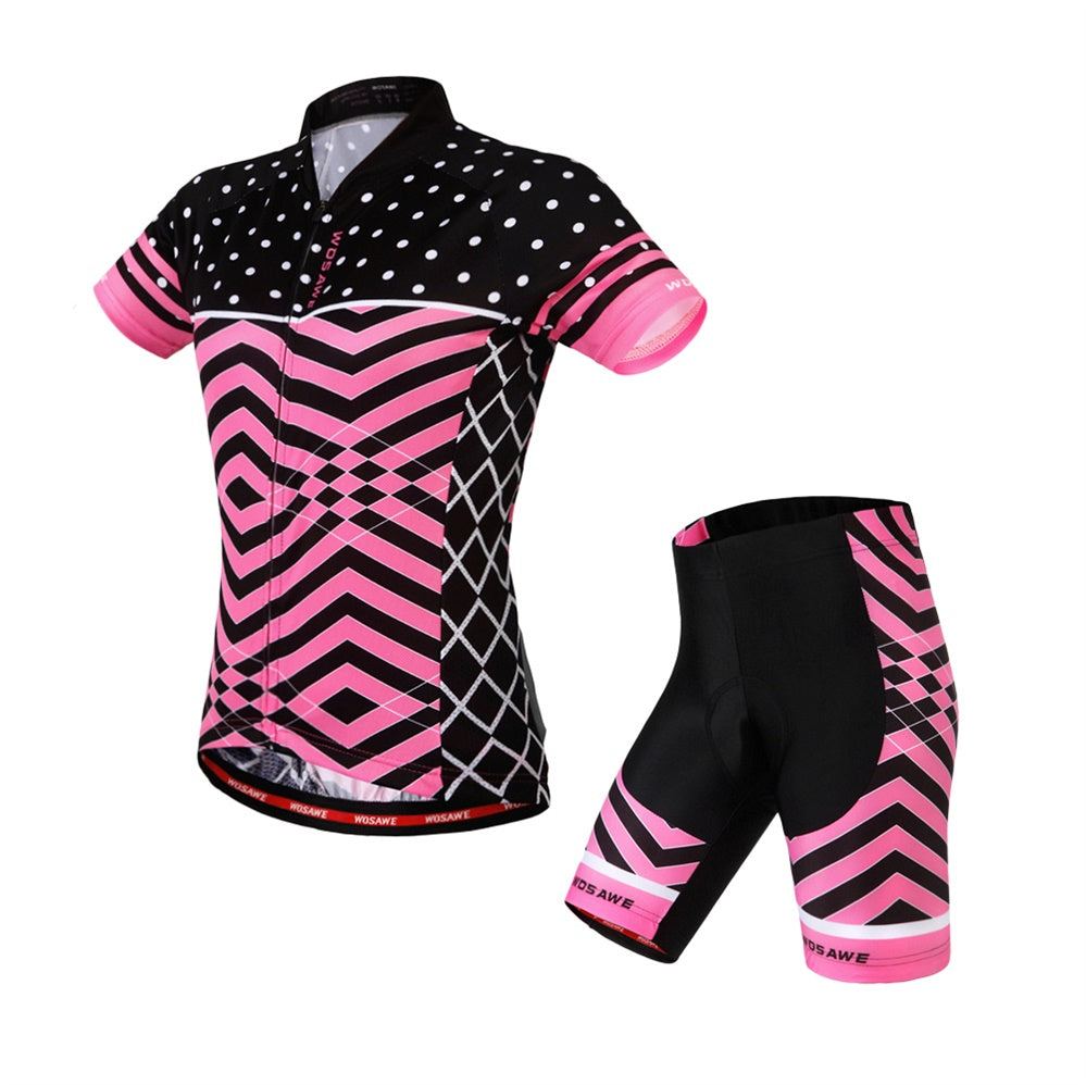WOSAWE Womens Cycling Set Quick-Dry Short Sleeve Bicycle Jersey with Pants