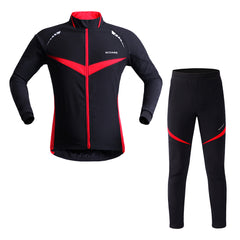 WOSAWE Men's Winter Cycling Full Kit Windproof Jacket with Pants