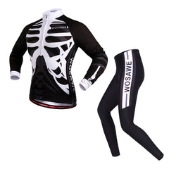 WOSAWE Skeleton Mens Bicycle Jersey Set Breathable Long Sleeve Full Kit
