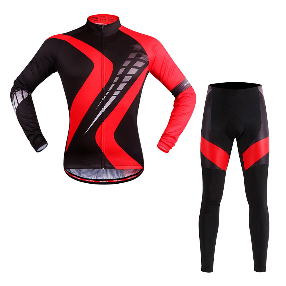 WOSAWE Cycling Full Suit for Men Long Sleeve Bike Shirts with Gel Padded Pants