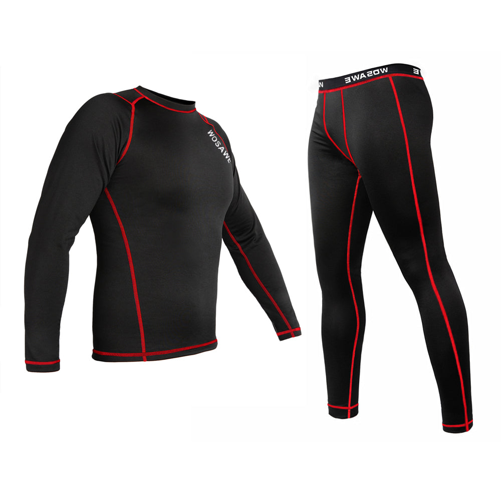 WOSAWE Winter Cycling Long Johns Sweat Quick Drying Thermal Fleece Underwear Sets