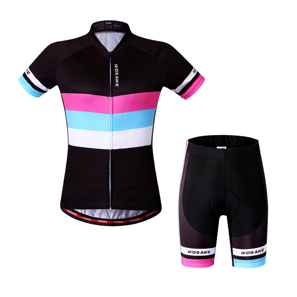 WOSAWE Women Cycling Jerseys and Padded Shorts Set Bike Full Kit Clothing