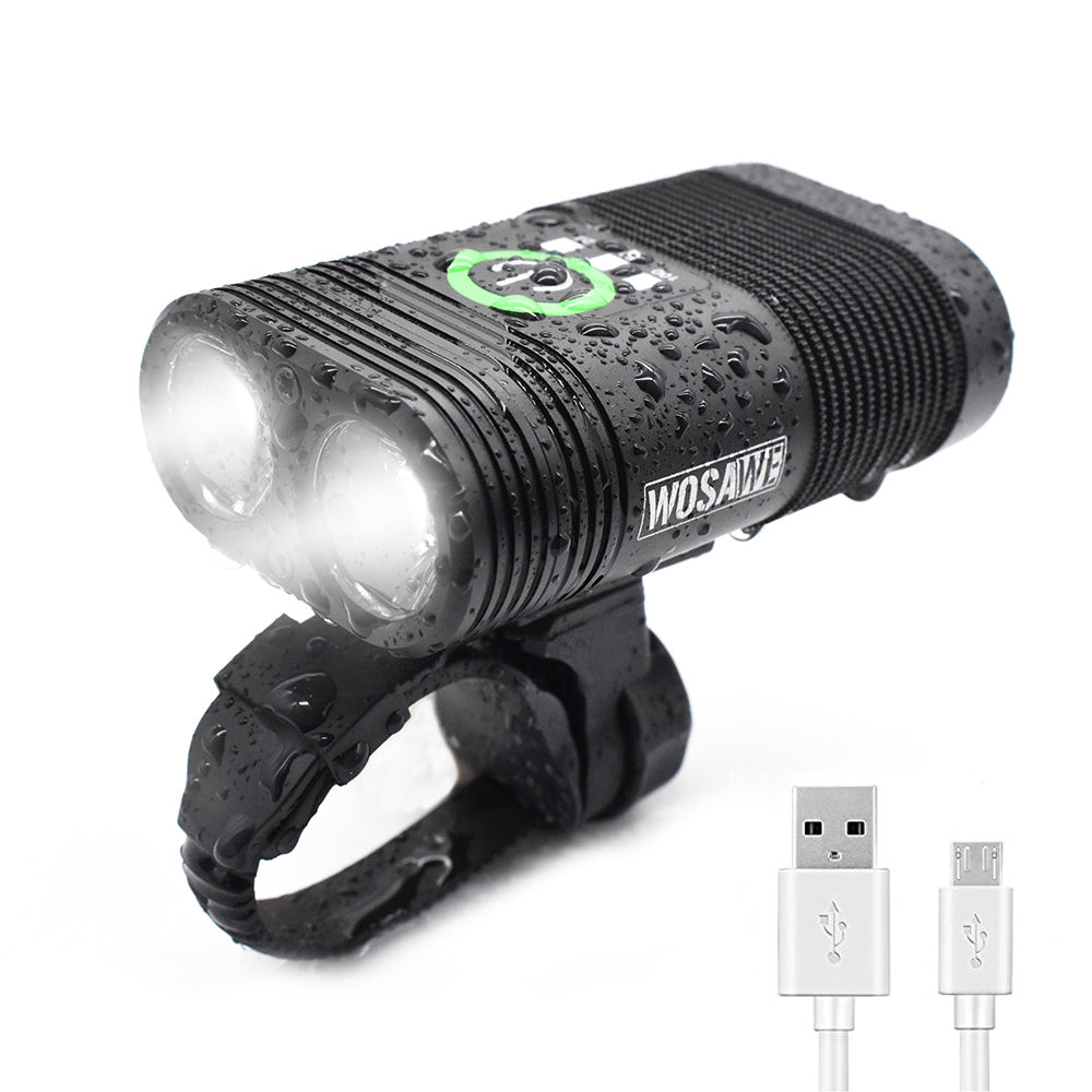 WOSAWE Bike Light USB Rechargeble 2-XPE LED Waterproof Cycling Headlight 600 Lumen 5 Modes Bicycle Headlamp