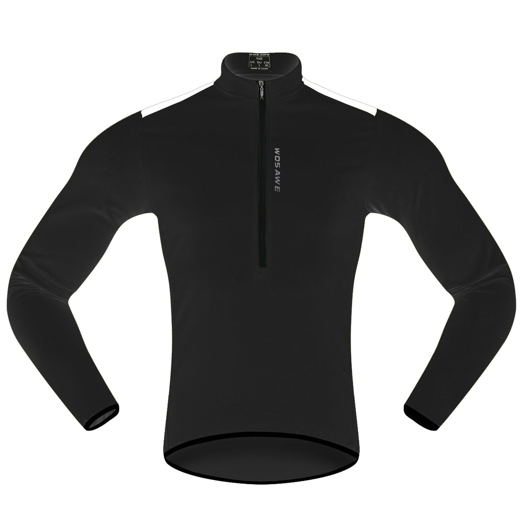 WOSAWE Men's Half Zip Long Sleeve Bicycle Cycling Jersey Breathable and Quick Dry