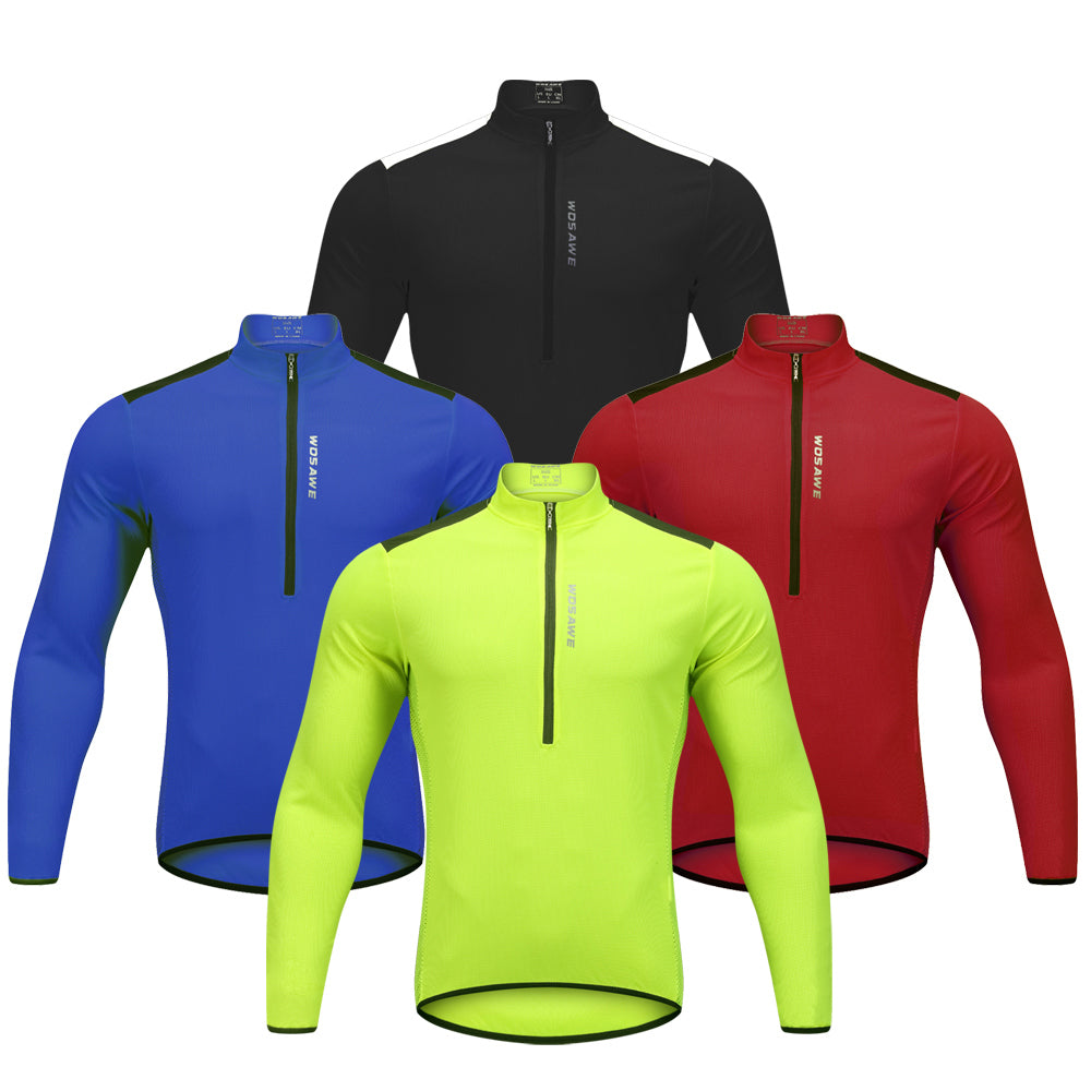WOSAWE Men s Half Zip Long Sleeve Bicycle Cycling Jersey Breathable and Quick  Dry faf19fa5c
