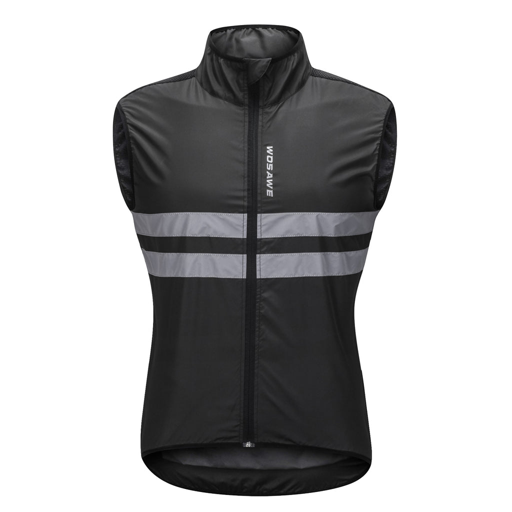 WOSAWE Men's High Visibility Cycling Wind Vest Sleeveless Reflective Running Bicycle Gilet Breathable