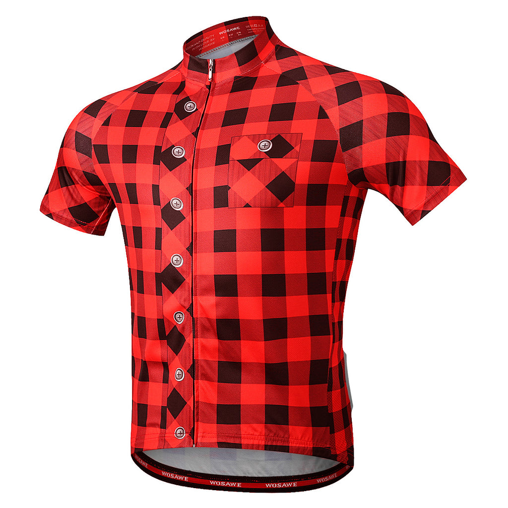 WOSAWE Men's Plaid Cycling Jersey Short Sleeves Printed Bike Shirts