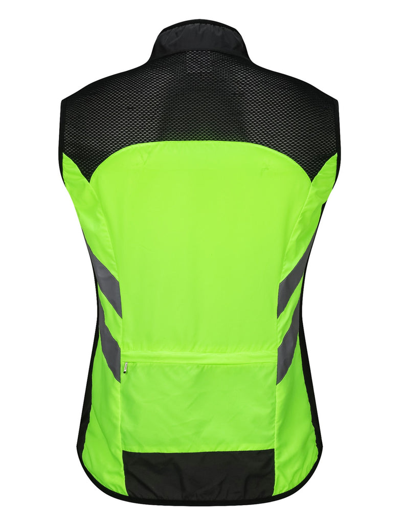 Men's High Visibility Cycling Wind Vest Sleeveless Running Reflective Bicycle Gilet