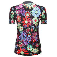 WOSAWE Women's Full Flower Pattern Cycling Jersey Breathable Short Sleeve Bike Shirts