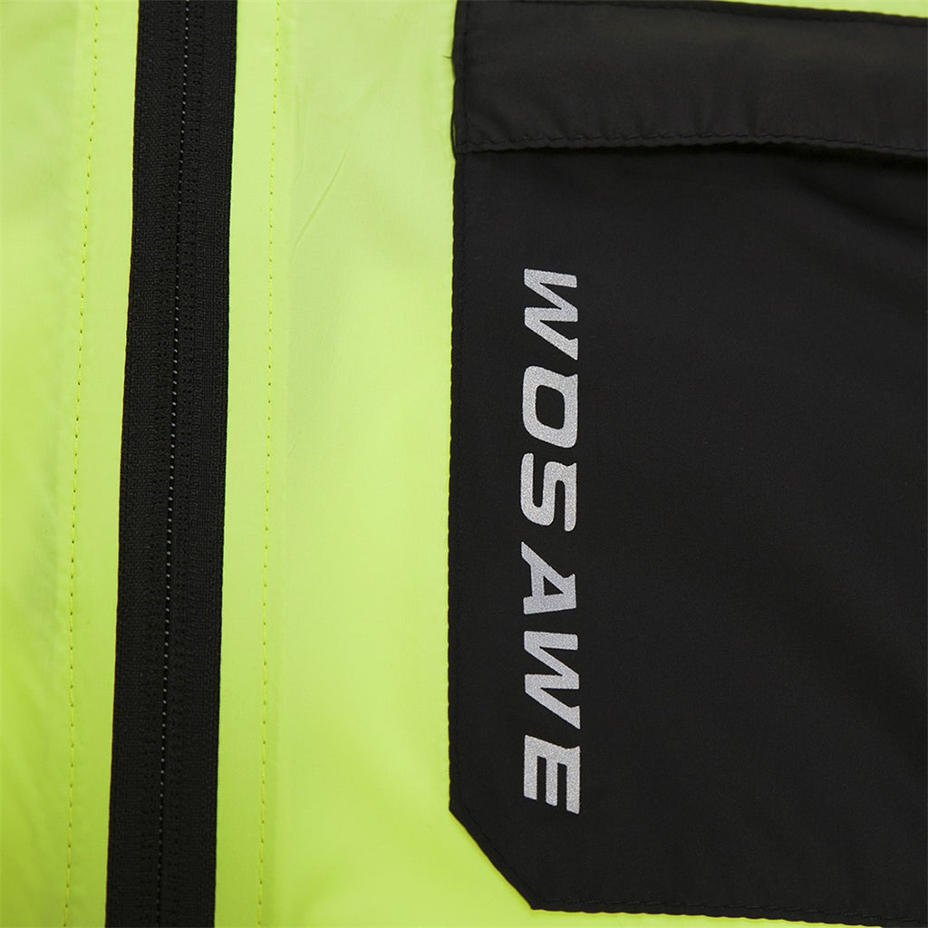 WOSAWE Men's High Visibility Cycling Windbreaker Long Sleeves Reflective Bicycle Jersey