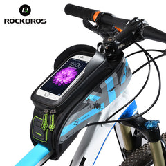 ROCKBROS MTB Road Bicycle Bags Rainproof Touch Screen Cycling Front Tube Frame Bags 5.8/6.0 Phone Case