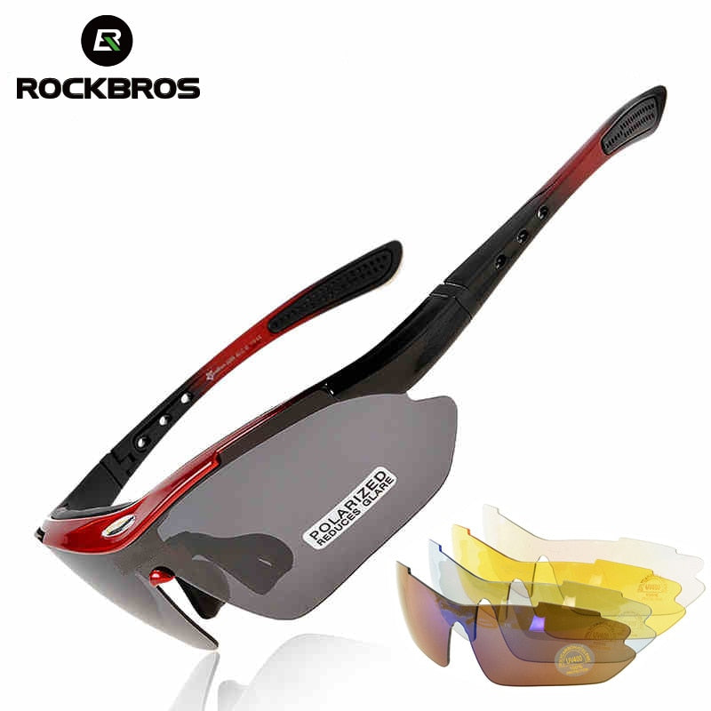 ROCKBROS Men Polarized  Sunglasses Road Cycling Glasses Mountain Bike Eyewear 5 Lens