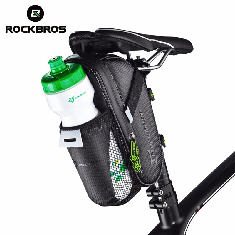 ROCKBROS Rainproof Bicycle Rear Bag With Water Bottle Pocket Bike Tail Seat Saddle Bag Reflective