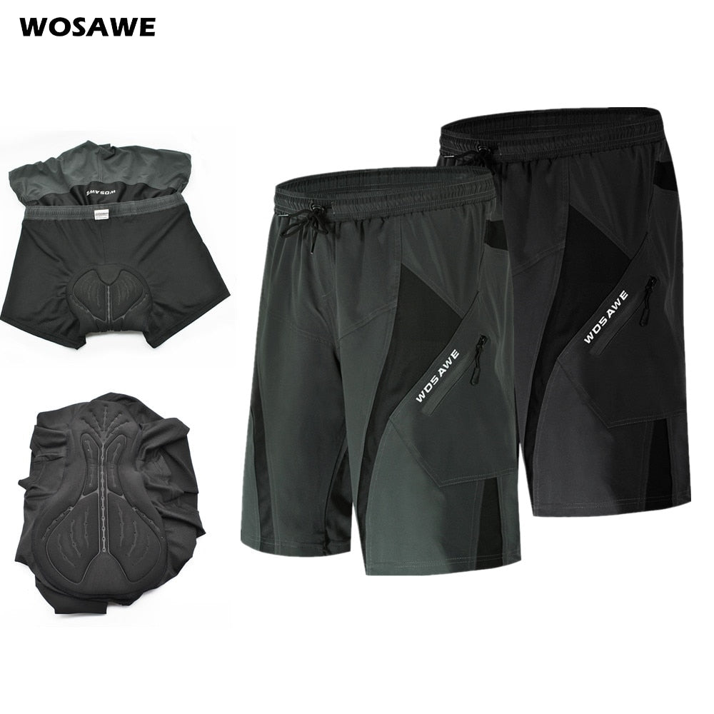WOSAWE Mens's Summer Cycling Shorts with 3D Padded Underwear Loose fit Shockproof MTB Bicycle Downhill Shorts Road Bike Shorts