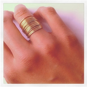 Dramatic 21 Tiny Golden Stackable Rings