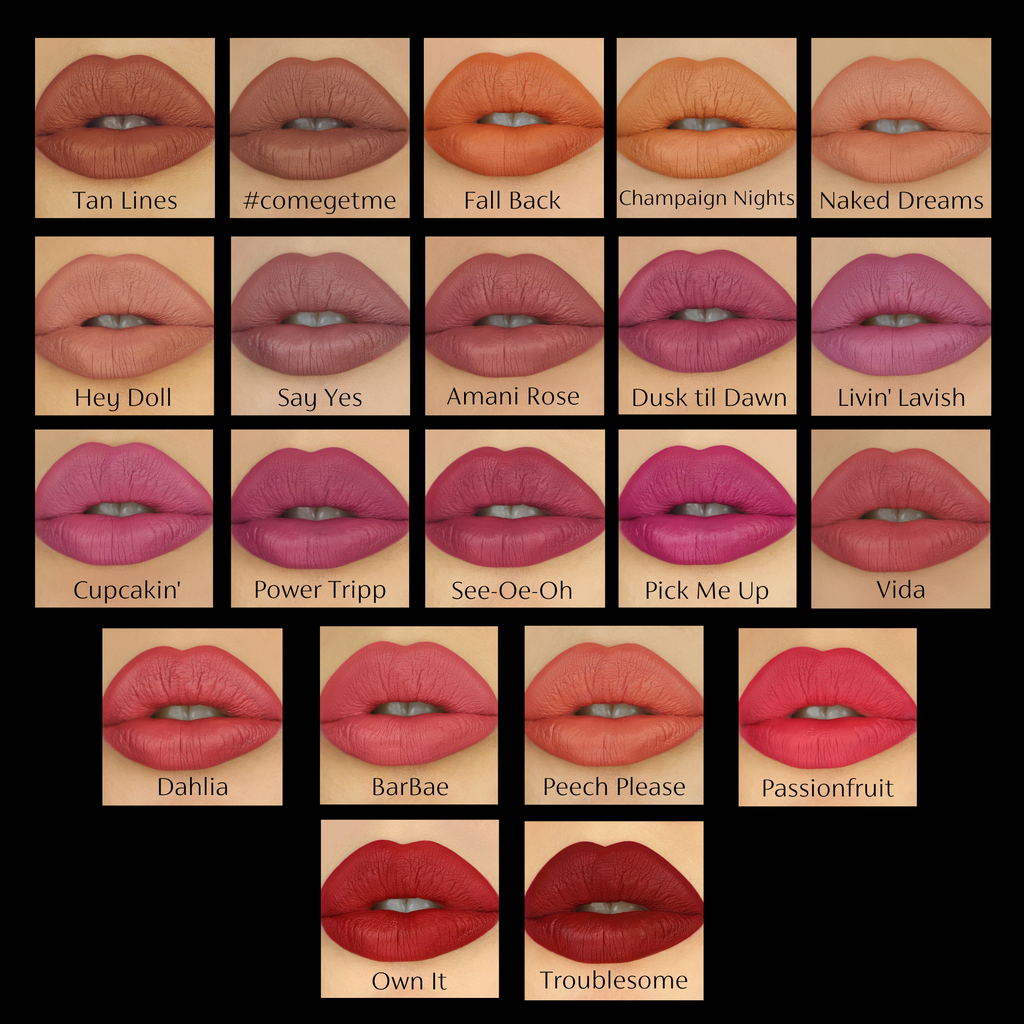 closeup of lips in all shades of pink red nude Ambreesh lipsticks