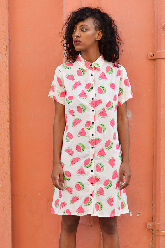 Watermelon Dream<br>Boyfriend Summer Dress Shirt