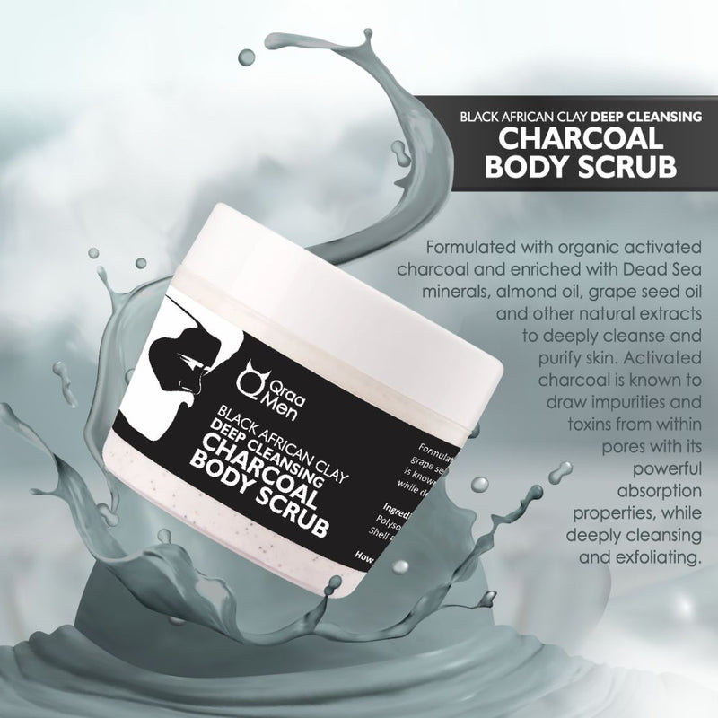 Black African Clay Deep Cleansing Charcoal Body Scrub-200g