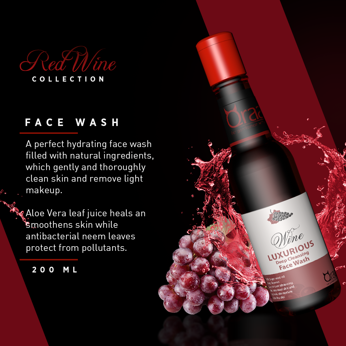 Luxurious Wine Face Wash - 200ml