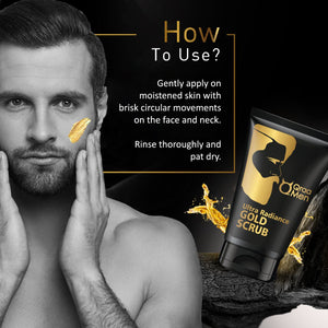 Qraa Men Ultra Radiance gold Scrub with 24k Gold- Instantly Clear and Bright Skin, Removes Dead Skin Cells, with Walnut and Vitamin E, 100 g
