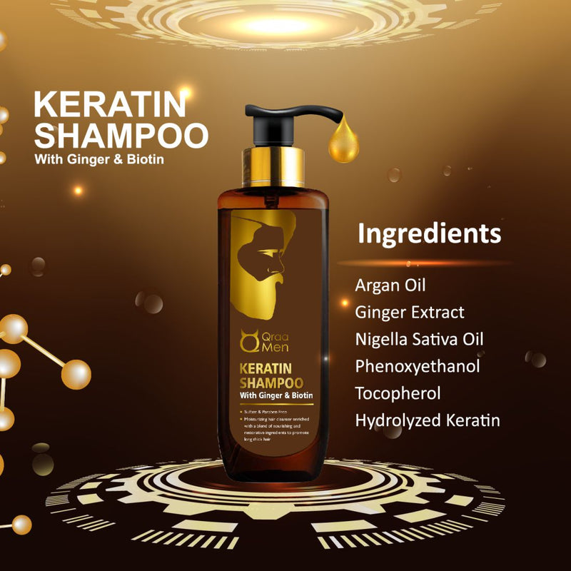 Keratin Repair Shampoo for Men with Ginger and Biotin-200ml