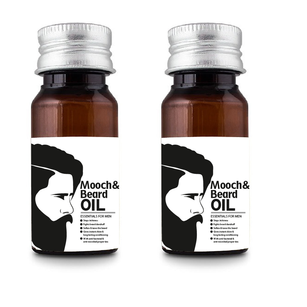 Mooch And Beard Oil Combo of 2, Nourishes and Softens Beard