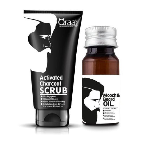 Mooch And Beard Oil & Activated Charcoal Scrub Combo