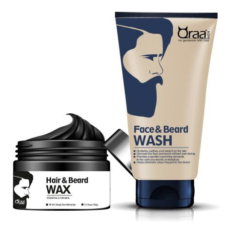 Styling Hair & Beard Gel Wax and Face And Beard Wash Combo