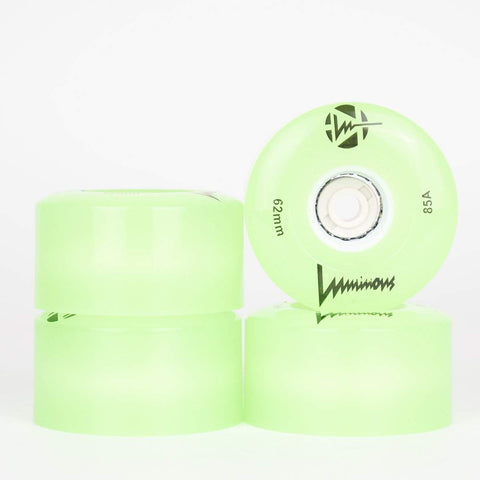Luminous Green LED Light Up Quad Wheels 62mm (Singles)