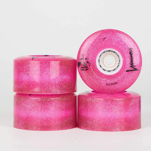 Luminous Pink / Glitter LED Light Up Quad Wheels 62mm