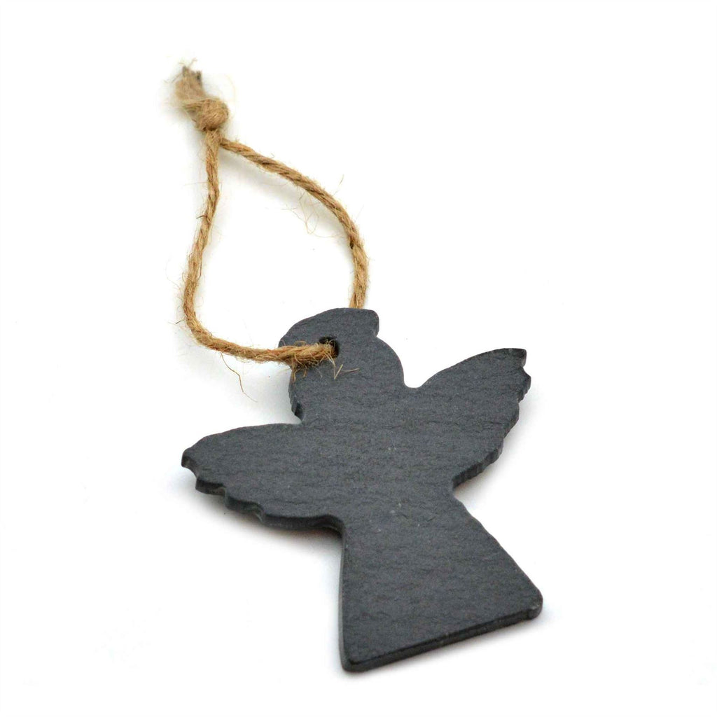 Nicola Spring Christmas Tree Hanging Slate Decoration - Angel Design