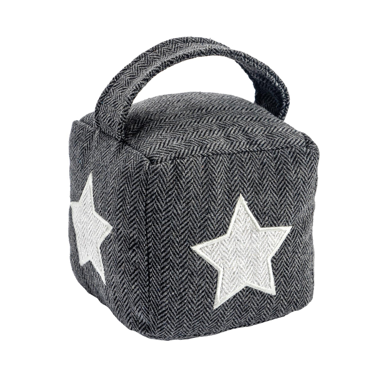 Nicola Spring Fabric Door Stop Star Grey Single