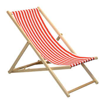 Beach Deck Chair with Red and White Stripe Canvas
