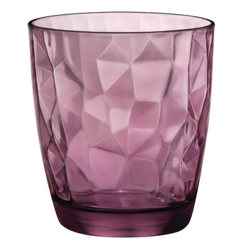 Bormioli Rocco 6 Diamond Glass Whiskey Glasses - Purple - 390ml