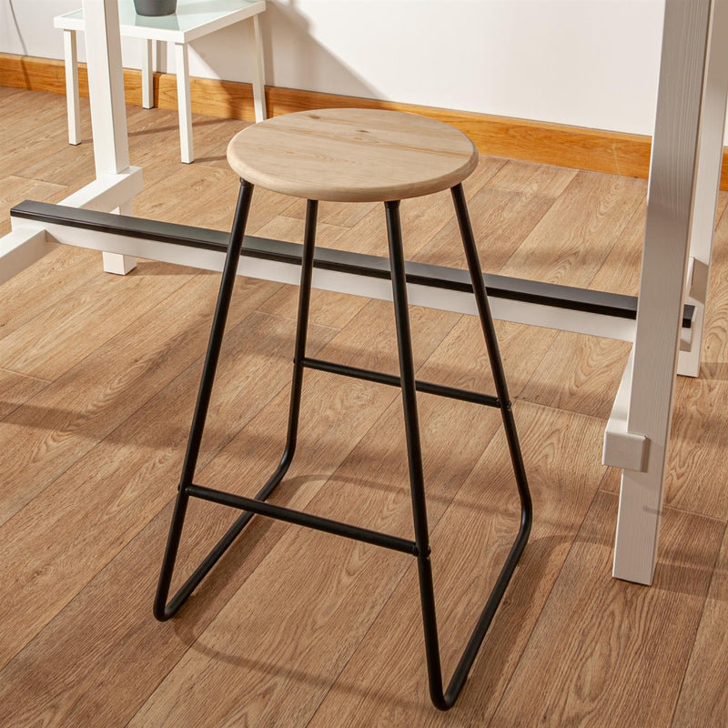 Harbour Housewares Wooden Bar Stool - Black / Pine