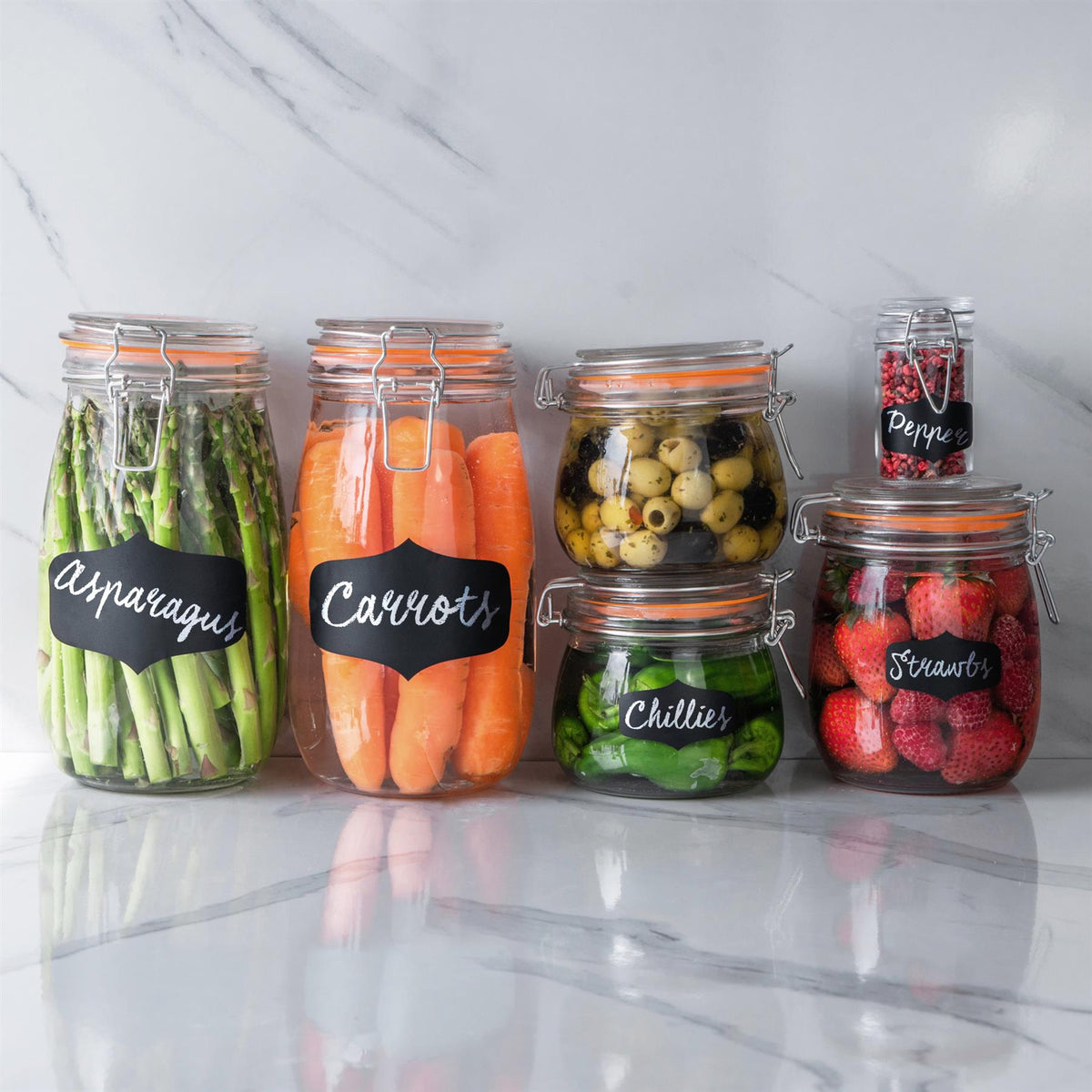 Glass kitchen food storage containers